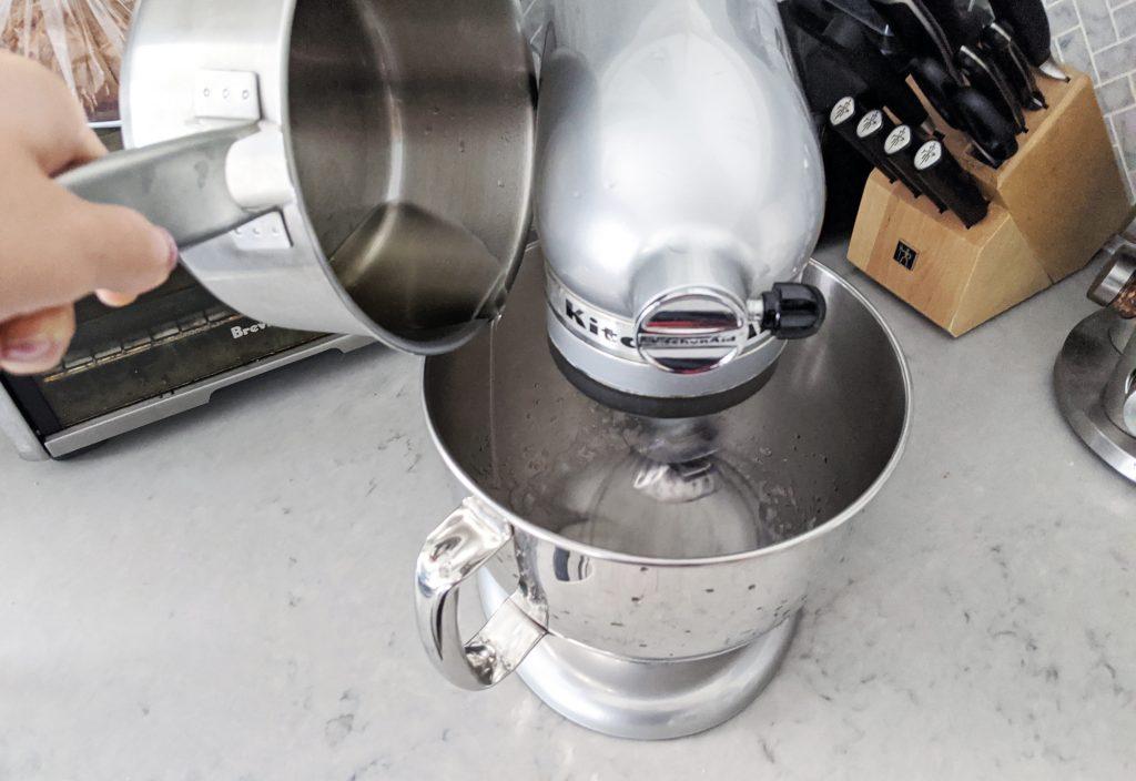 Dalgona Milk Tea Drizzle hot water into egg whites